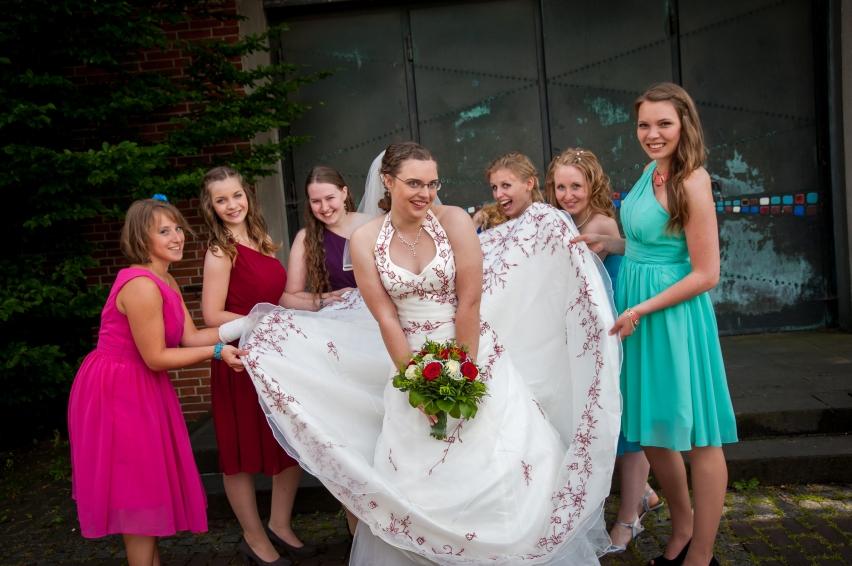 Laura und ihre Brautjungfern Miri, Ann, Co, ich, Leni & Theresa (v.l.n.r.)